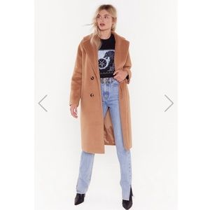 NASTY GAL DON'T RAIN ON MY PARADE CAMEL COAT